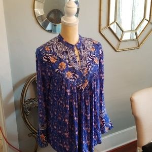 Free People boho Chic mock neck babydoll top XS